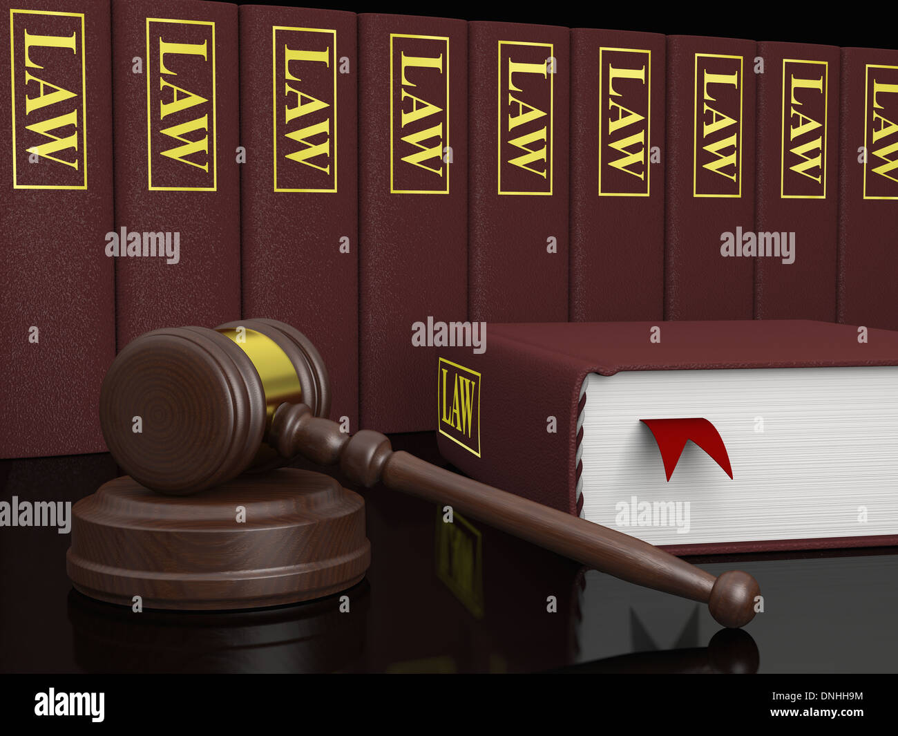 Gavel and law books, symbols of law and legal literature - Stock Image