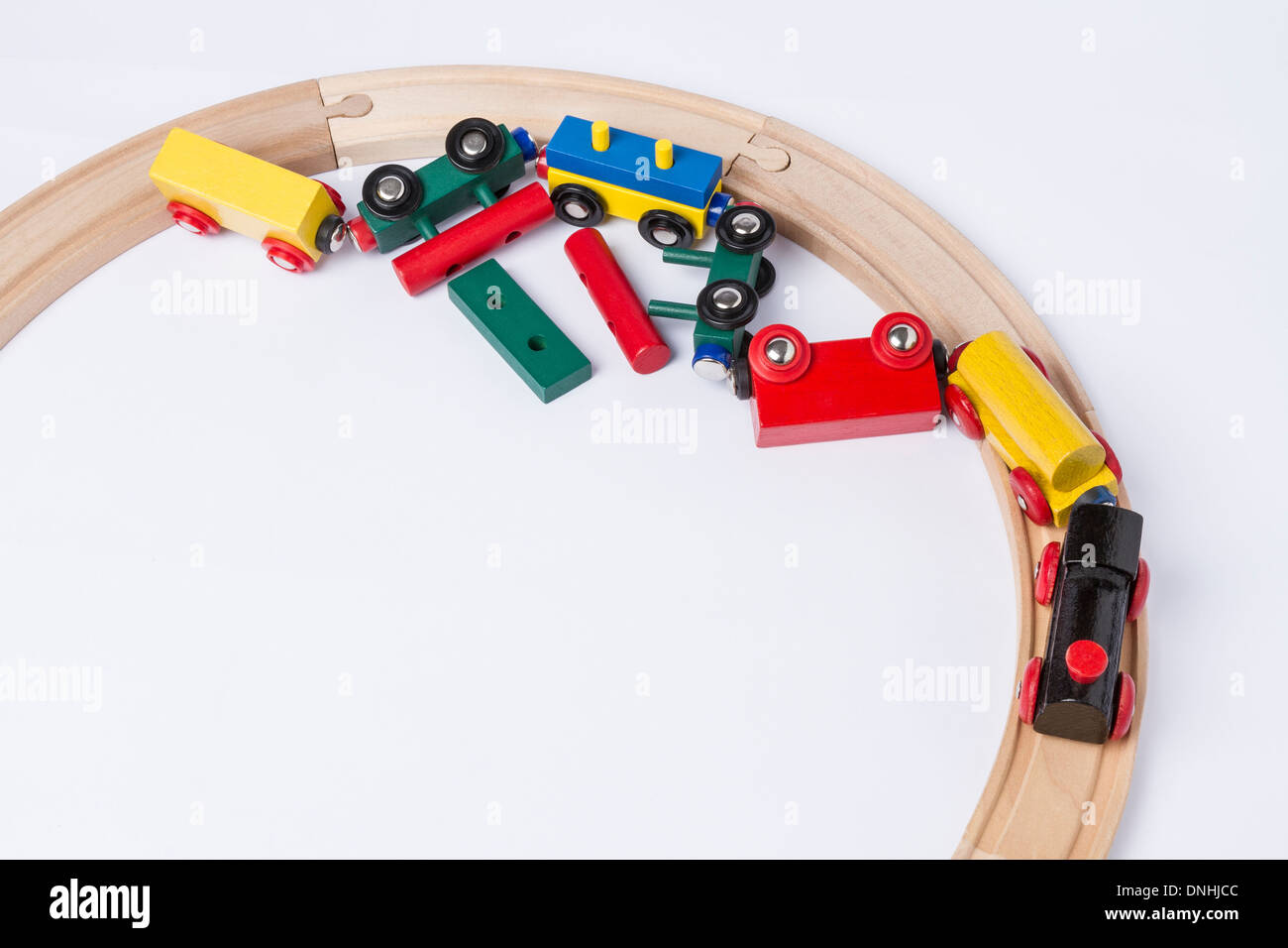 derail wooden toy train in top view. horizontal image Stock Photo
