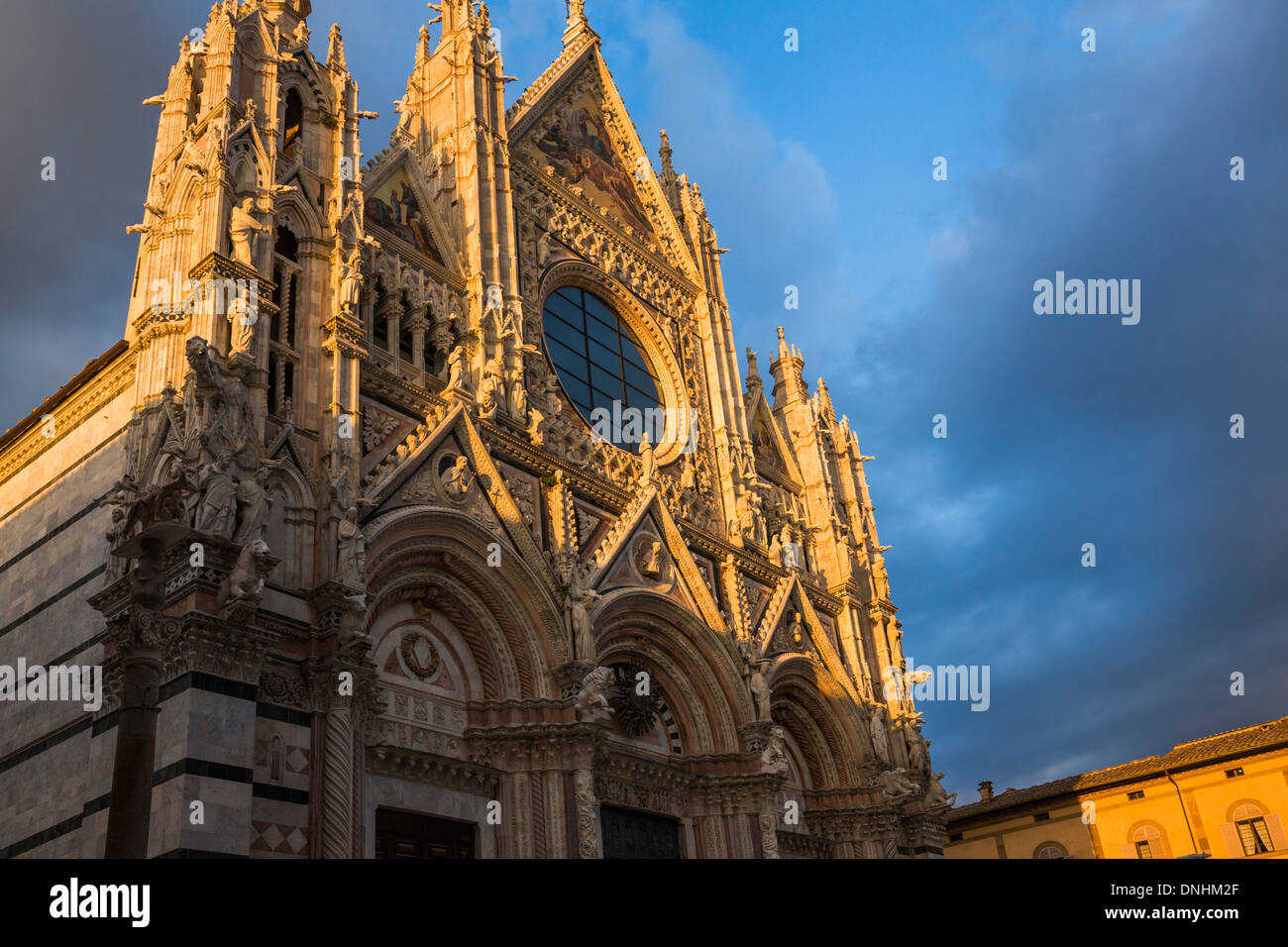 Low angle view of a cathedral, Siena Cathedral, Siena, Siena Province, Tuscany, Italy Stock Photo