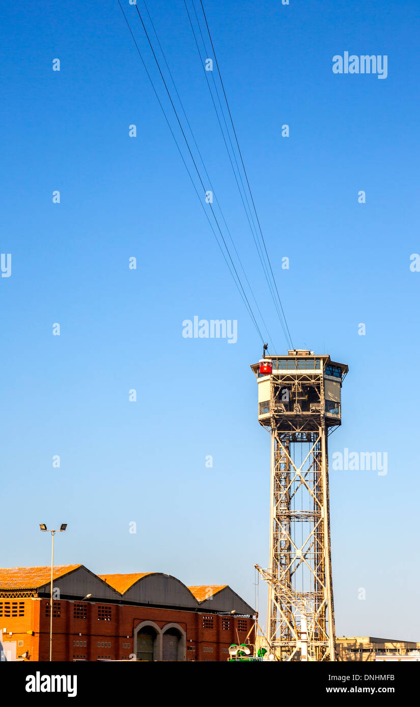 Low angle view of overhead cable car, Barcelona, Catalonia, Spain Stock Photo