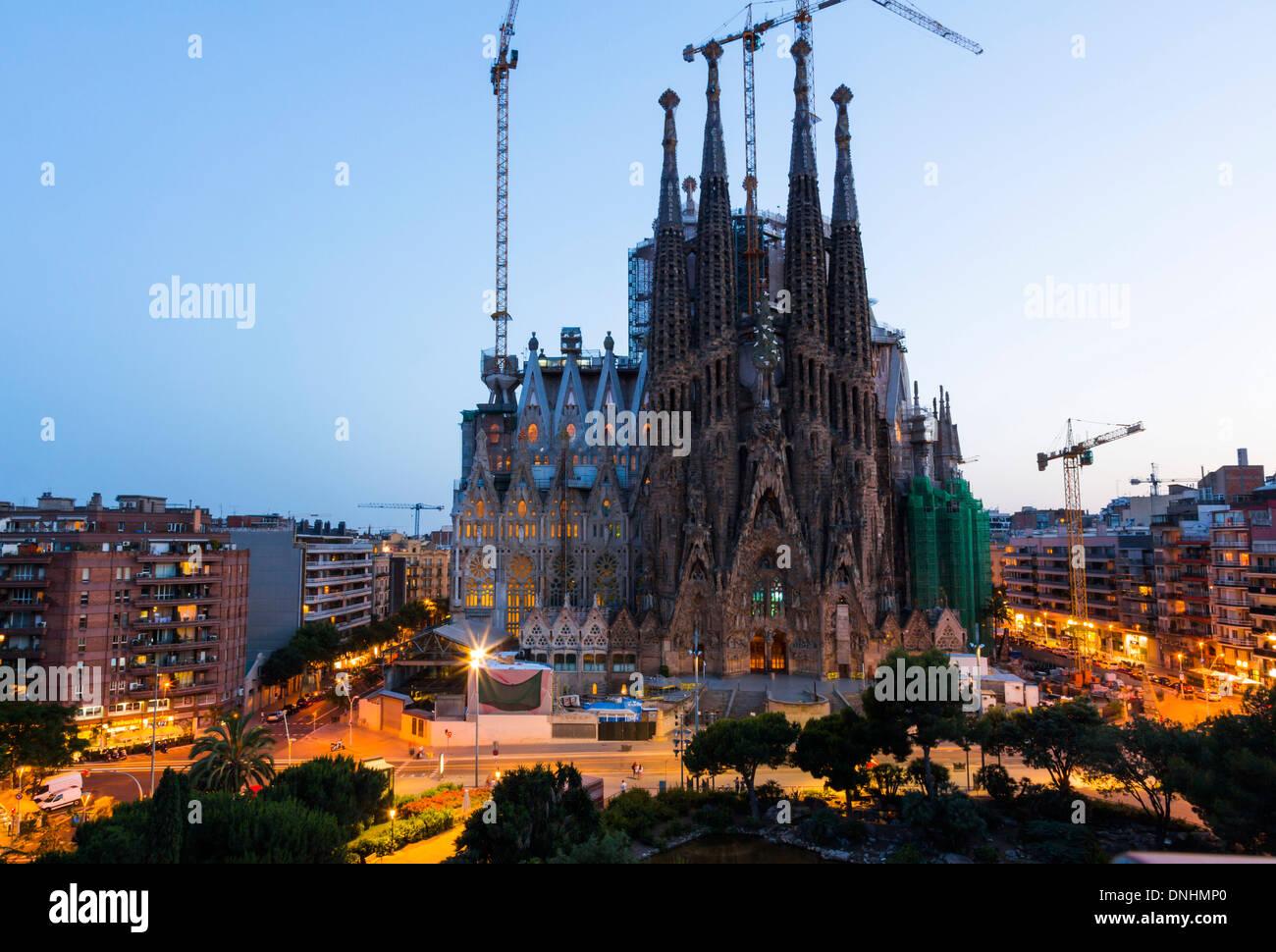 Church in a city, Sagrada Familia, Barcelona, Catalonia, Spain Stock Photo