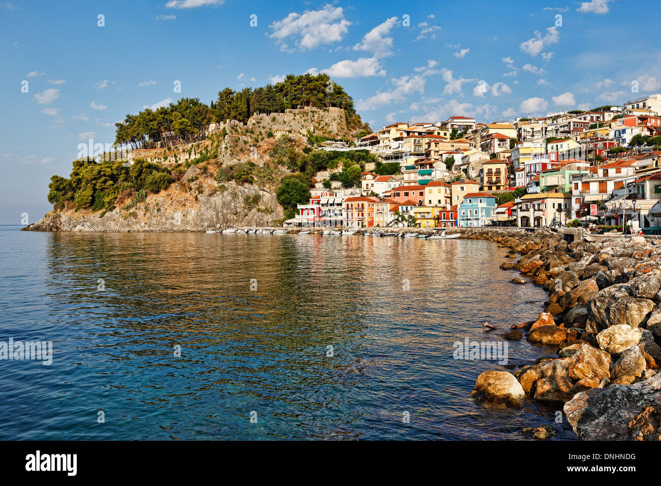 The bay with the colorful houses of Parga, Greece - Stock Image
