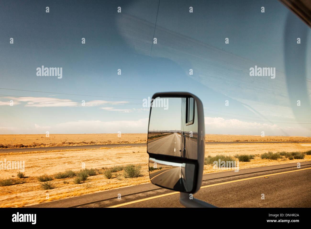 Empty road -Driving trough Mojave Desert,California,USA - Stock Image