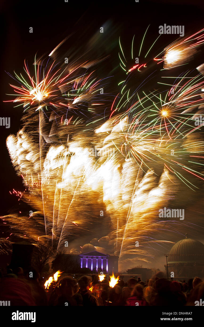 Edinburgh, Scotland, UK. 30th December 2013, Start of Edinburgh's Hogmanay celebrations with Vikings from the torchlight Procession and fireworks on Calton Hill from the Son et lumiere finale of the procession, Scotland UK Credit:  Arch White/Alamy Live News - Stock Image
