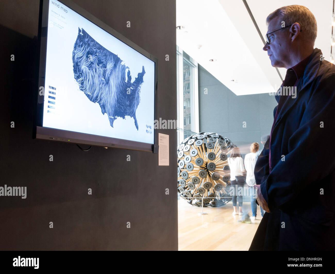 Patron Views Wind Map Display Museum Of Modern Art Nyc
