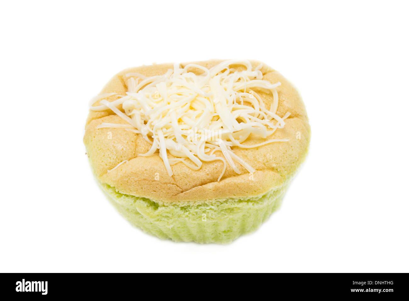 Philippines sponge cake call mamon isolated on white - Stock Image
