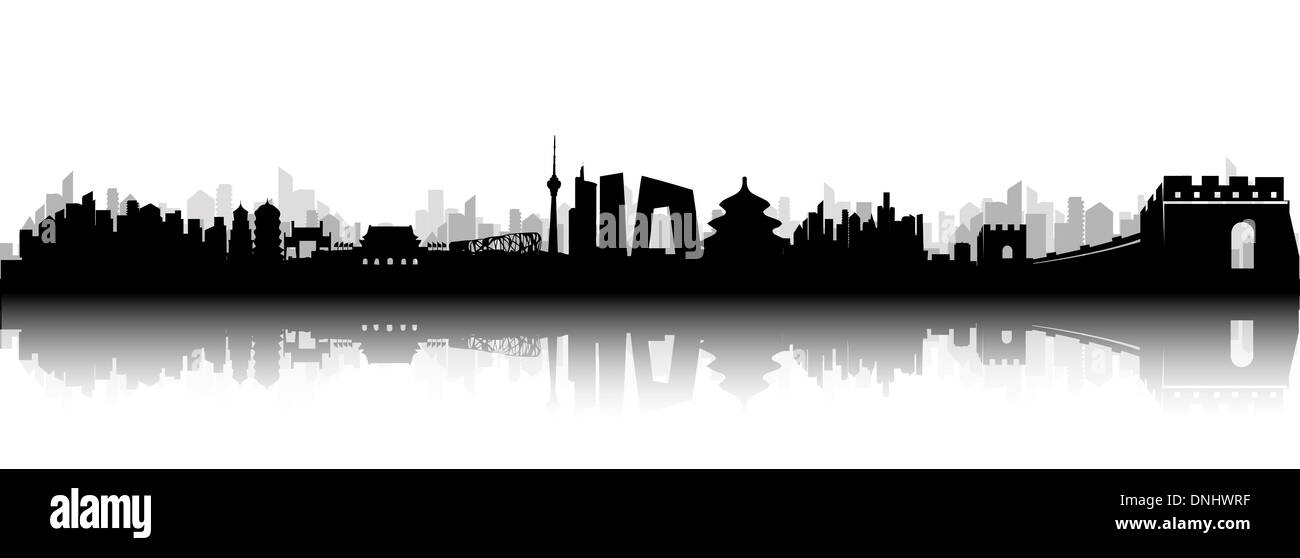 Beijing city skyline black and white silhouette vector artwork