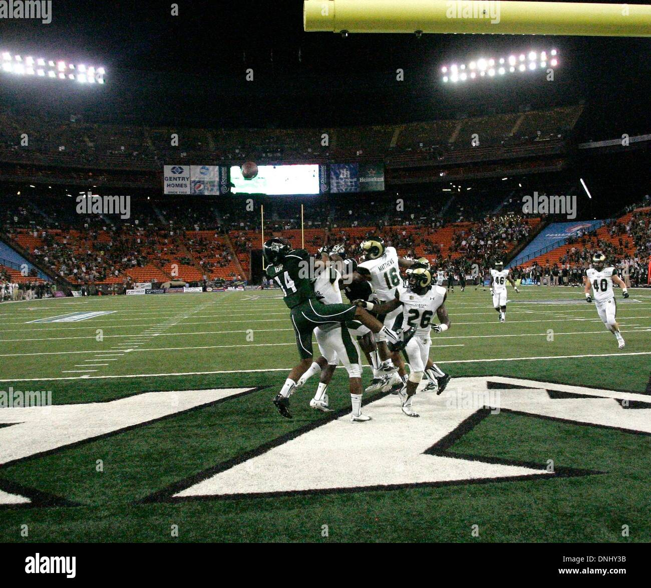 Honolulu, HI, USA. 26th Oct, 2013. October 26, 2013 - Hawaii's last gasp pass falls harmlessly away sealing the victory for Colorado State during action between the Colorado State Rams and Hawaii Rainbow Warriors at Aloha Stadium in Honolulu, HI. © csm/Alamy Live News - Stock Image