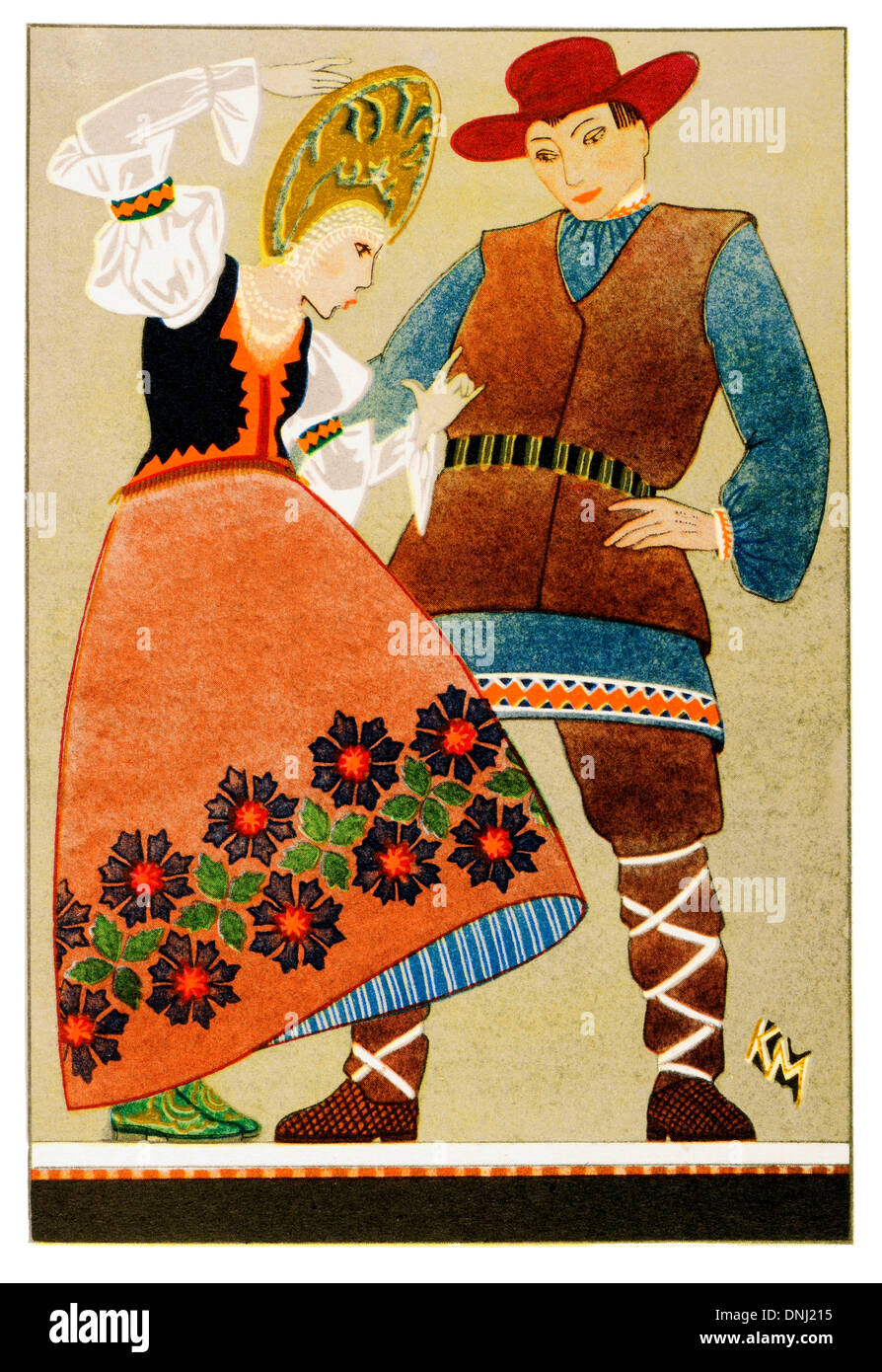 Russia Traditional costume early 20th century lithograph - Stock Image