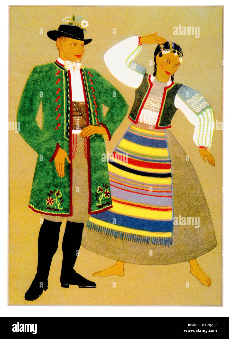 Poland Traditional costume early 20th century lithograph Stock Photo