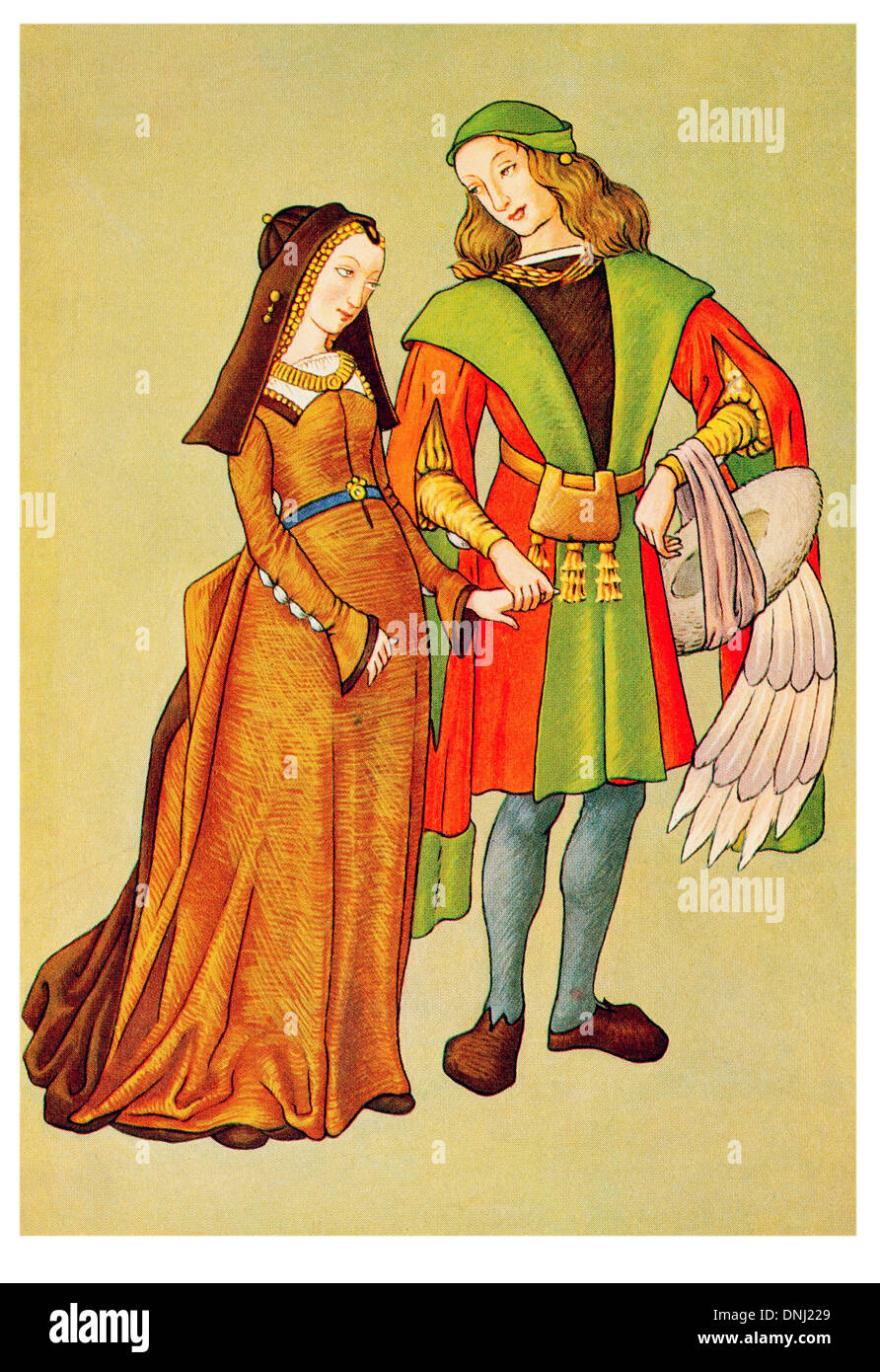 English Man and woman in outdoor clothes Late 15th Century - Stock Image