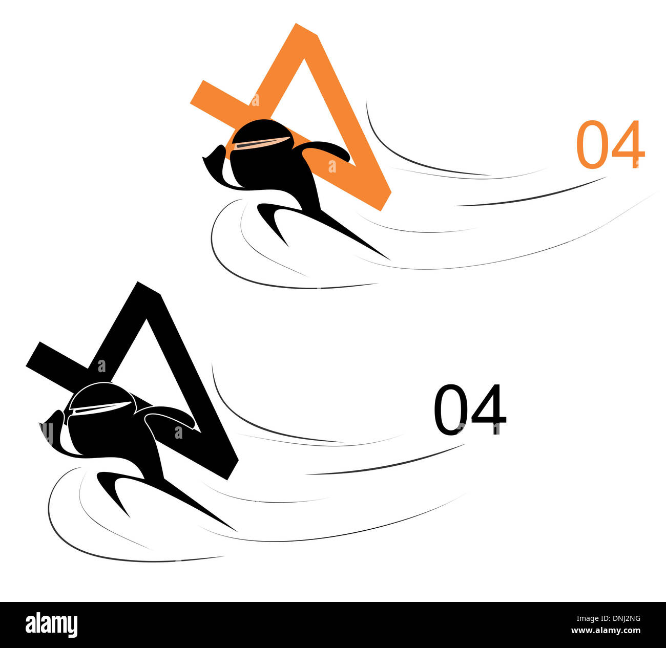 Illustrative representation of men running Away with 404 error message Stock Photo