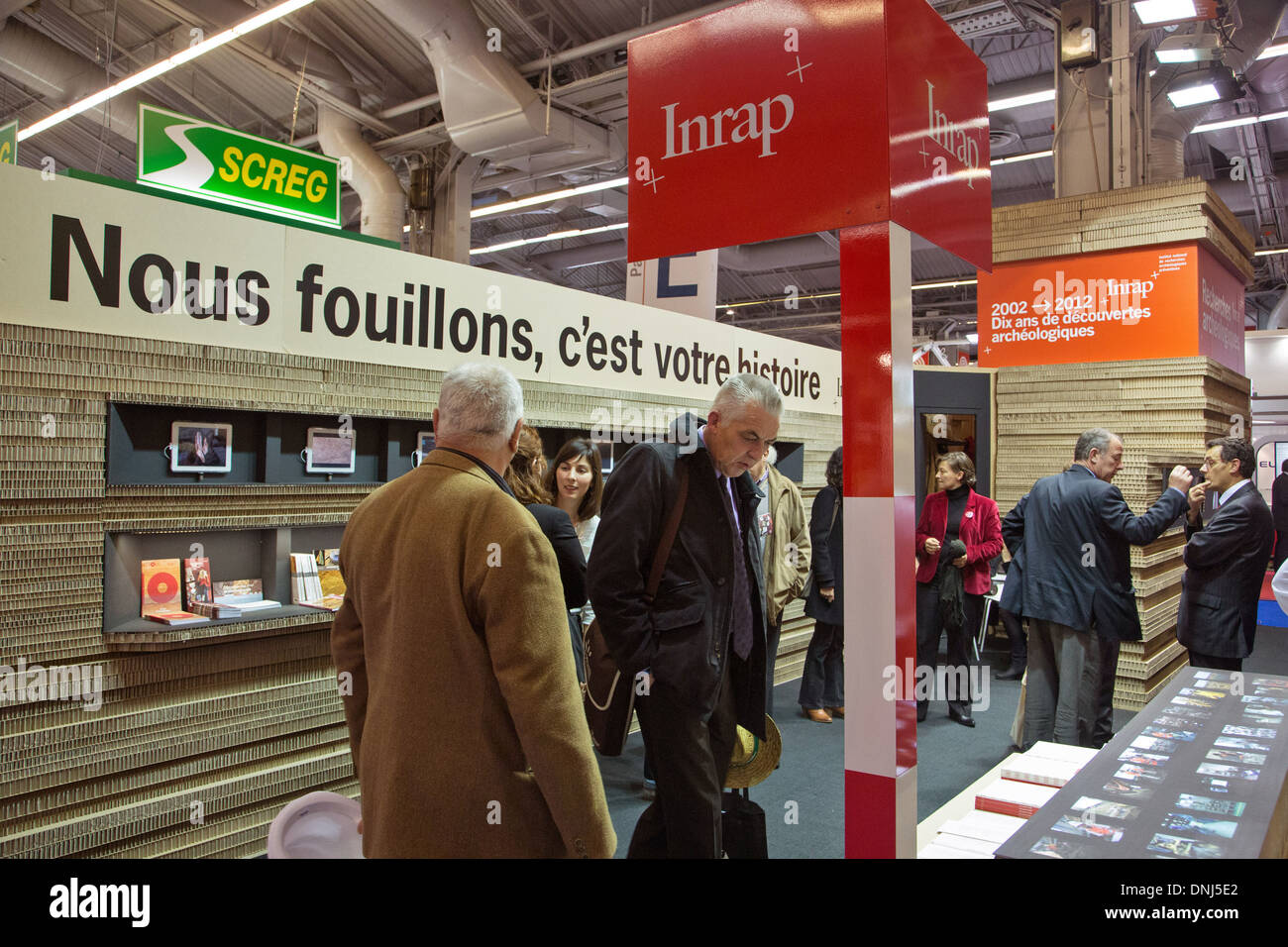 STAND FOR THE INRAP, NATIONAL INSTITUTE FOR PREVENTIVE ARCHAEOLOGICAL RESEARCH, 2012 MAYORS AND LOCAL AUTHORITIES EXPO, PORTE DE VERSAILLES, PARIS (75), FRANCE - Stock Image