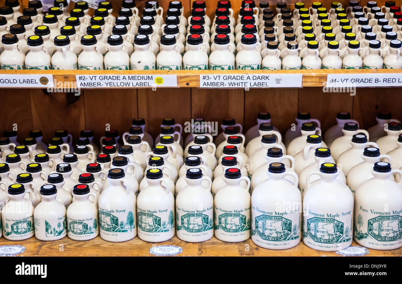 Grades of maple syrup available in the Sugarbush Farm store, Woodstock, Vermont, USA - Stock Image