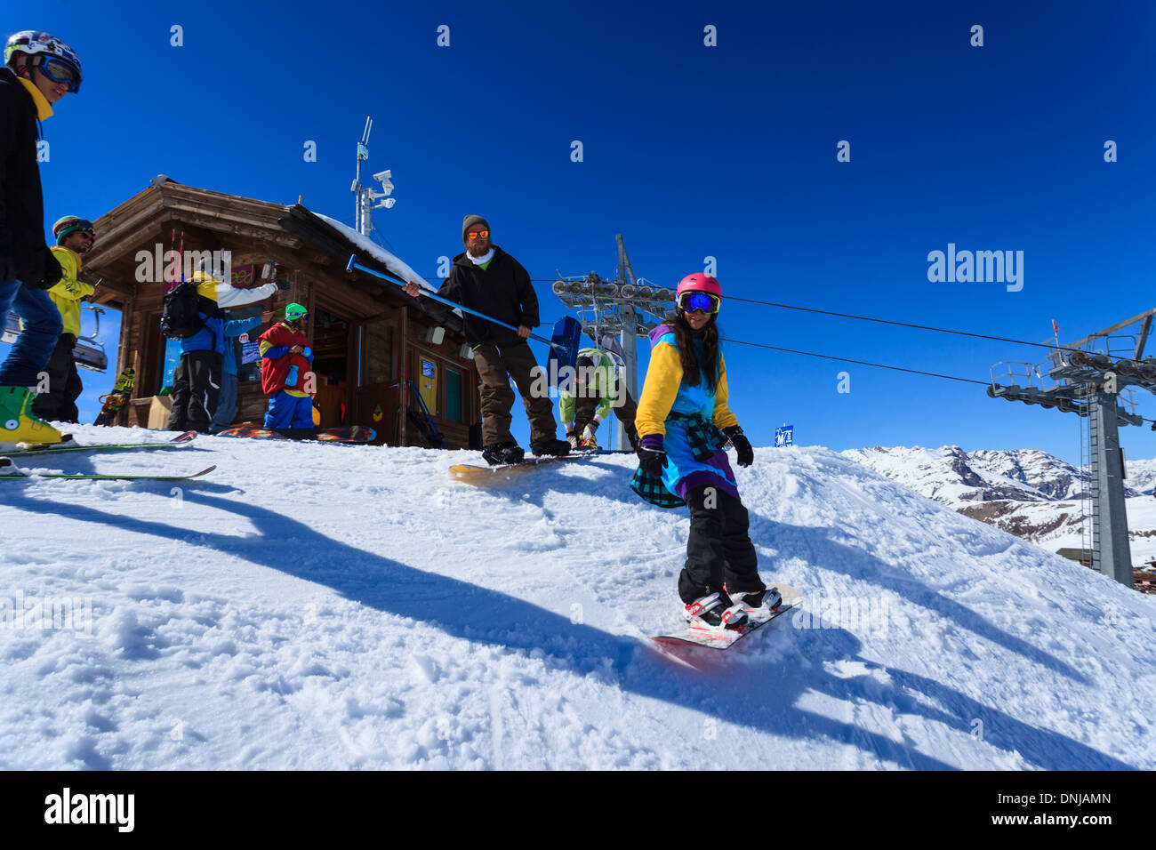 Ski and snowboarding action - Stock Image