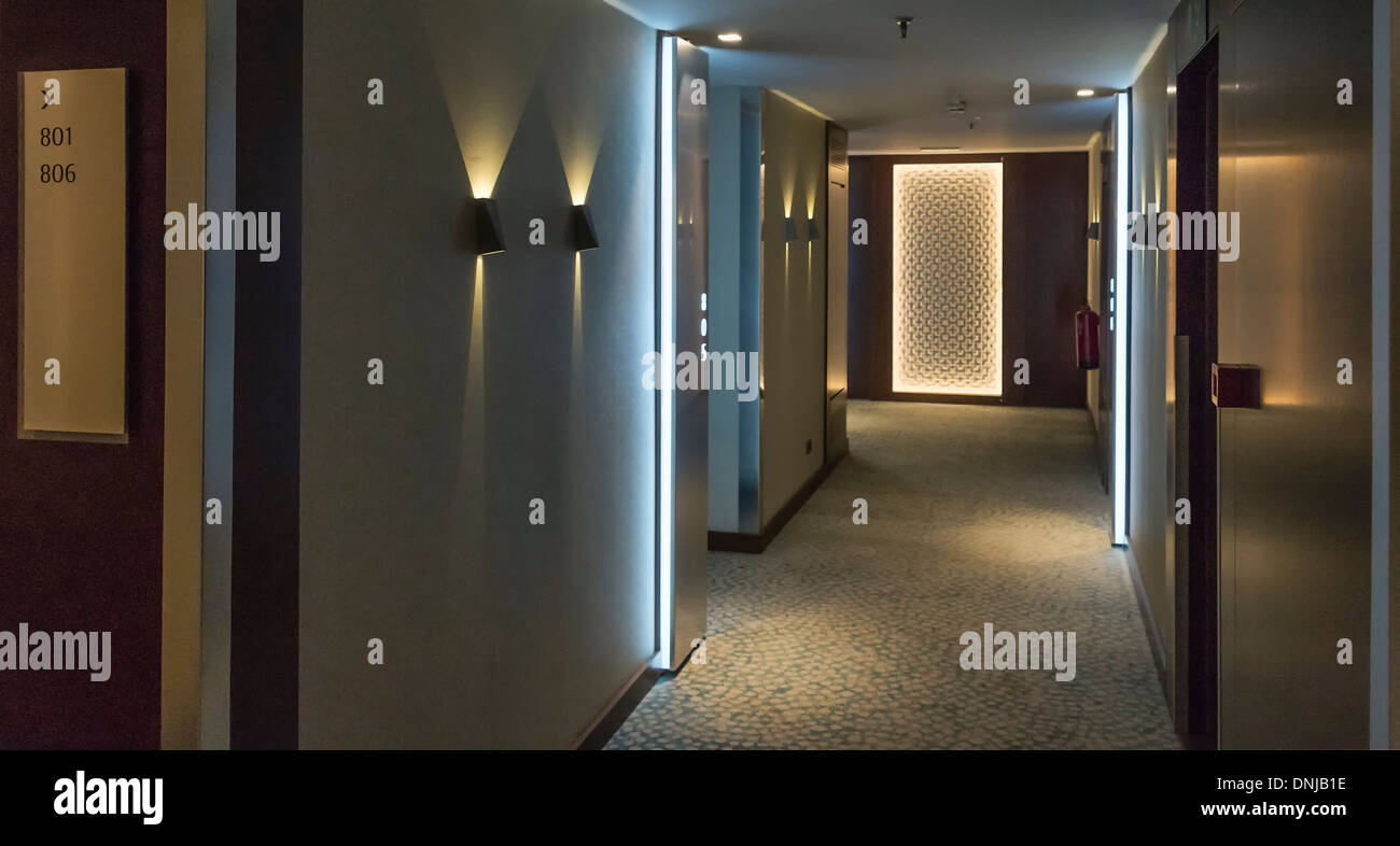 Hotel hallway and rooms. - Stock Image
