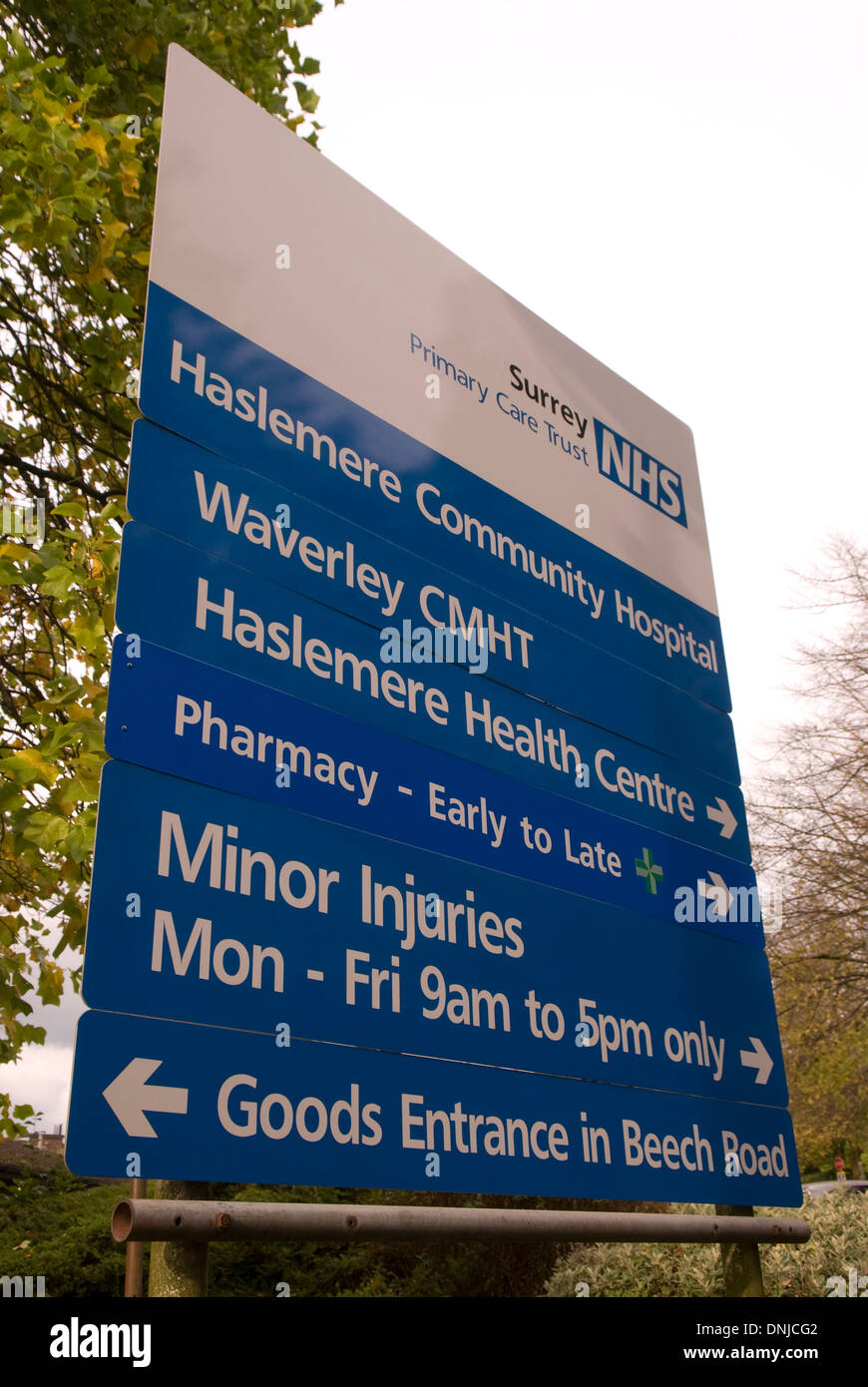 Sign outside Haslemere Community Hospital for Surrey Primary Care Trust NHS services, Surrey, UK. - Stock Image