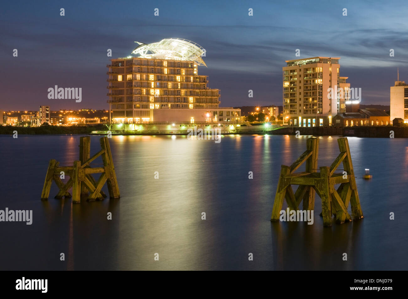 Cardiff Bay at night Stock Photo