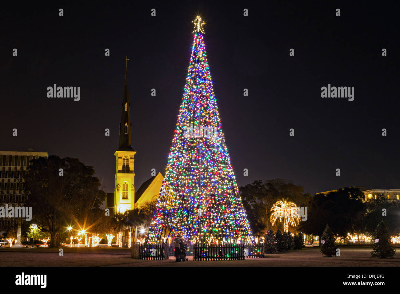 christmas tree and citadel square baptist church on marion square in historic charleston south carolina