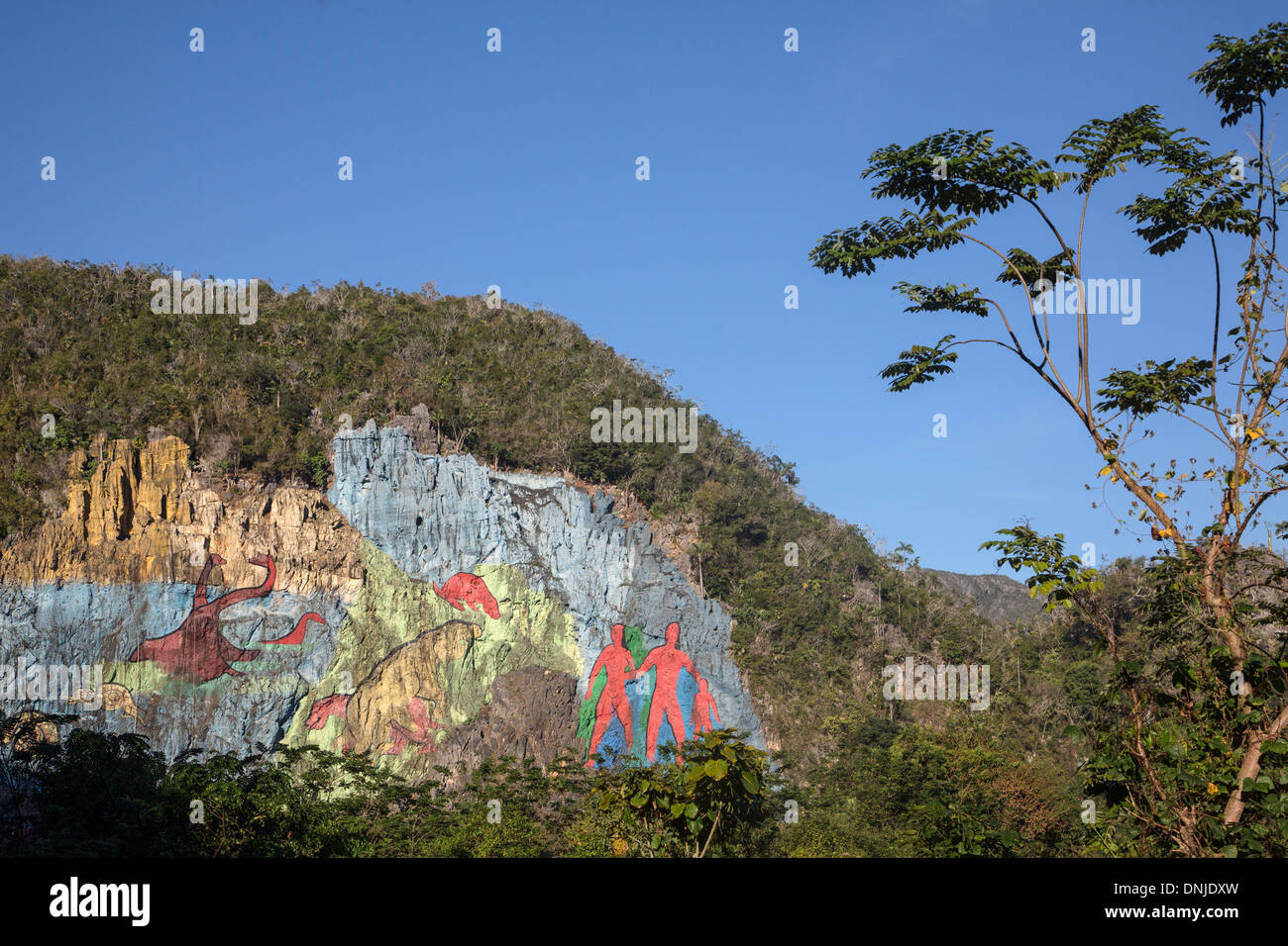 MURAL OF EVOLUTION, PREHISTORIC WALL (MURAL DE LA PREHISTORIA) COMMISSIONED BY FIDEL CASTRO IN 1961, PAINTING ON ASLOPE OF A MOGOTE (MOUNTAINOUS LIMESTONE HILLOCK), VINALES VALLEY, LISTED AS A WORLD HERITAGE SITE BY UNESCO, CUBA, THE CARIBBEAN - Stock Image