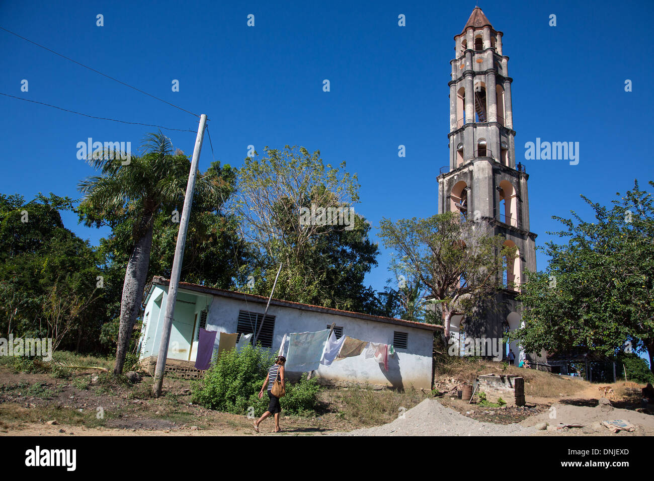 TORRE DE MANACA IGNAZA (44 METRES HIGH), SURVEILLANCE TOWER FOR WATCHING THE BLACK AFRICAN SLAVES ON THE OLD SUGAR CANE PLANTATION, LOS INGENIOS VALLEY, LISTED AS A WORLD HERITAGE SITE BY UNESCO, CUBA, THE CARIBBEAN - Stock Image