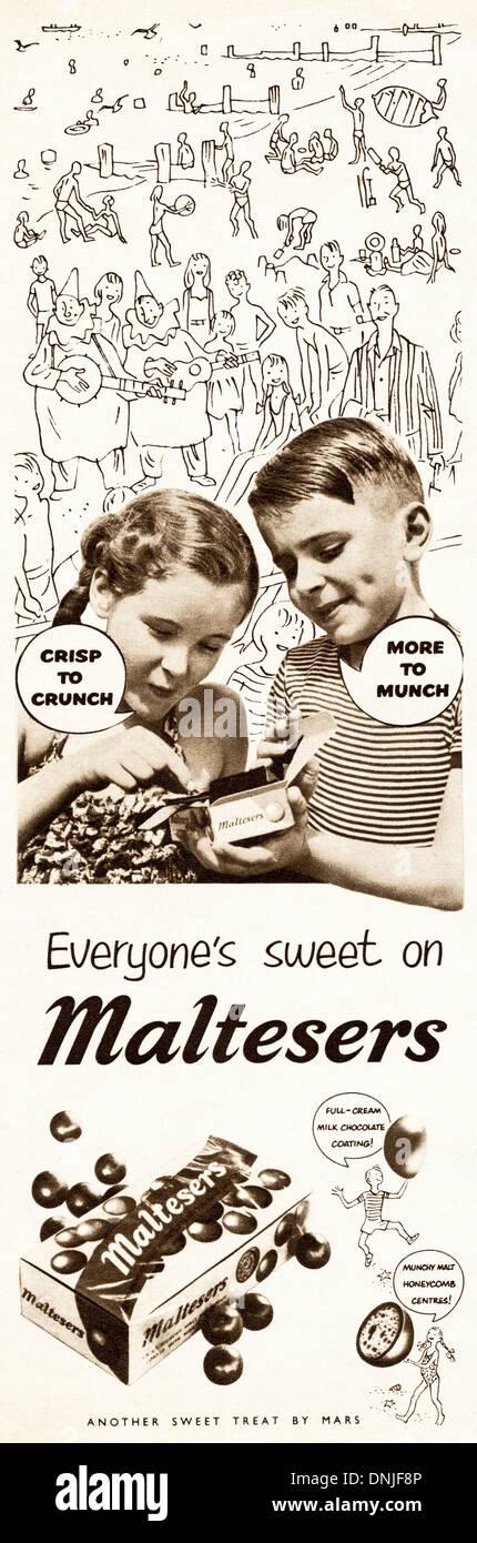 1950s magazine advertisement advertising MALTESERS by MARS - Stock Image