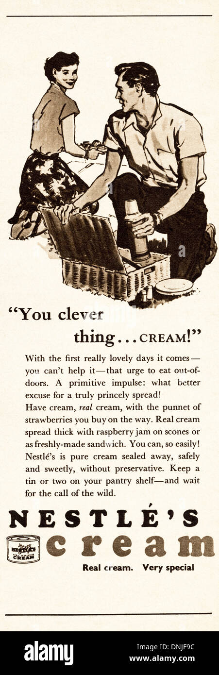 1950s magazine advertisement advertising NESTLE'S CREAM - Stock Image