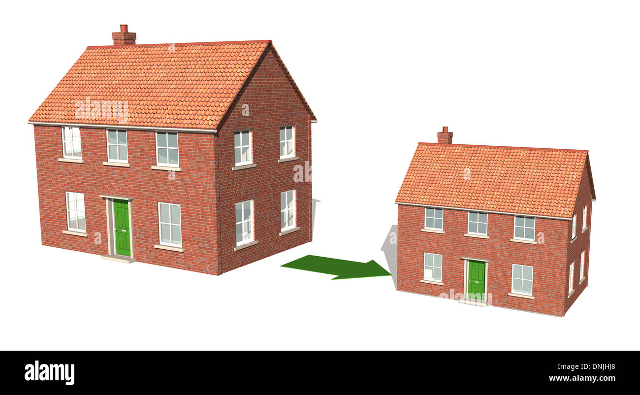 A CAD render showing downsizing of property 2 - Stock Image
