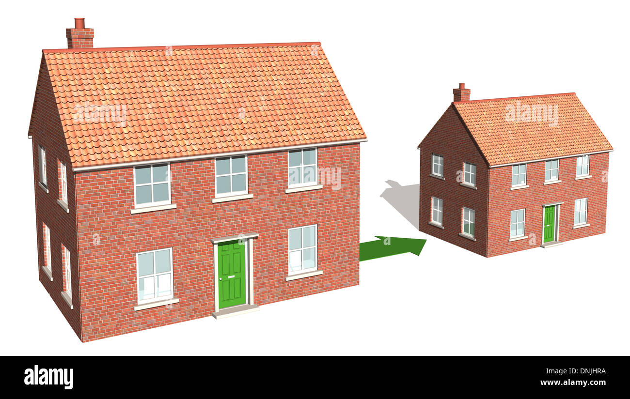 A CAD render showing downsizing of property 1 - Stock Image