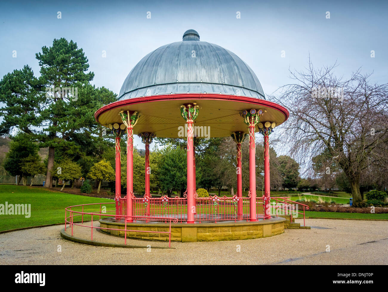 Bandstand in Roberts Park, Saltaire, West Yorkshire. - Stock Image