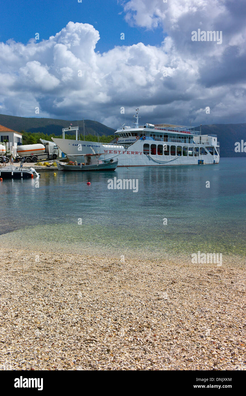 The Ferry from Fiscardo to Ithaca and Levkas at Fiscardo harbour, Kefalonia, Greece - Stock Image