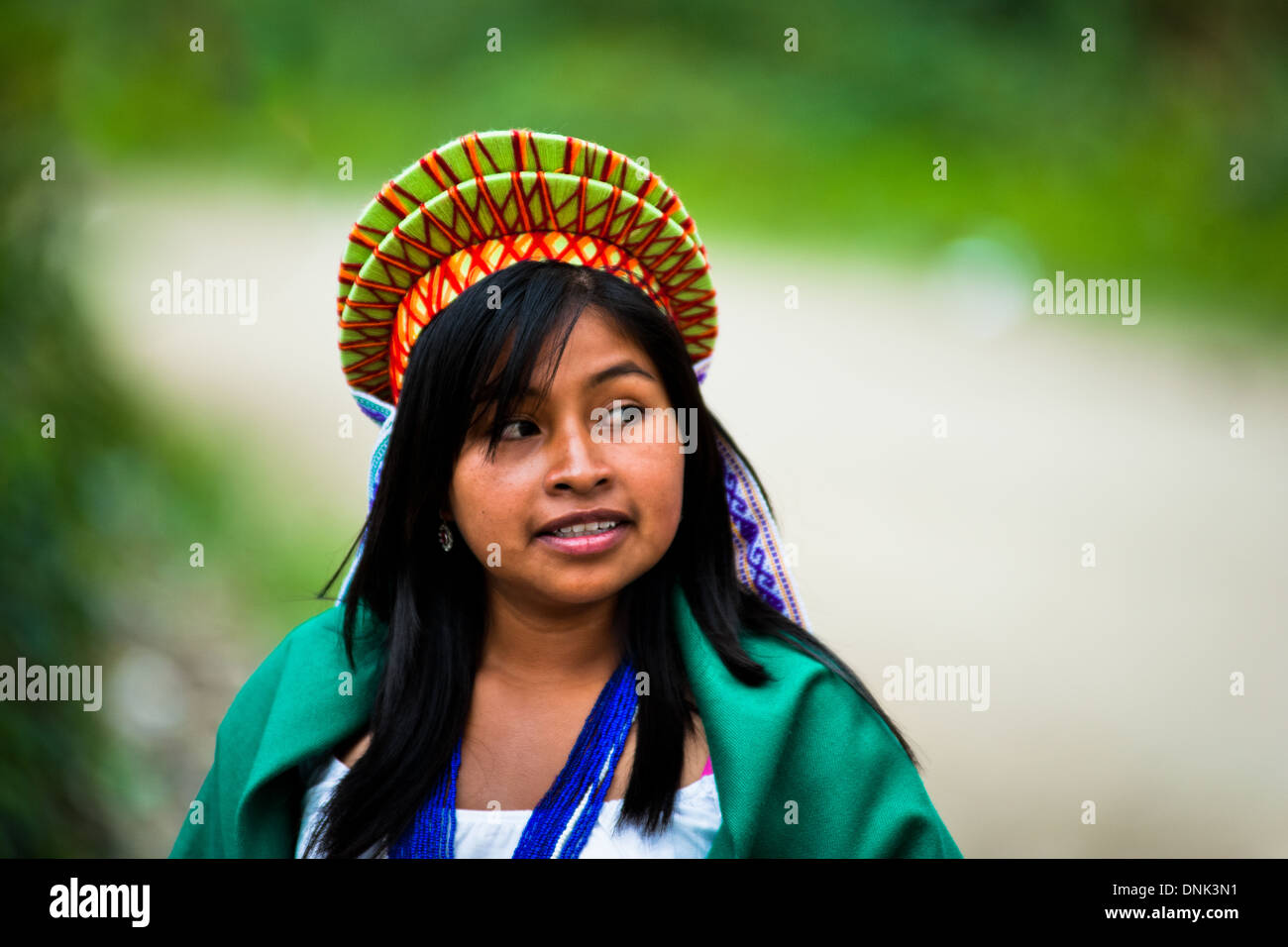 A native from the Kamentsá tribe takes part in the Carnival of Forgiveness in Sibundoy, Colombia. - Stock Image
