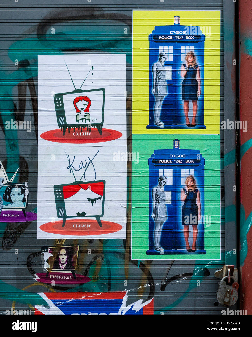 C3/D7606 - Posters of Police box, models and television sets - Grimsby street , East London, UK - Stock Image