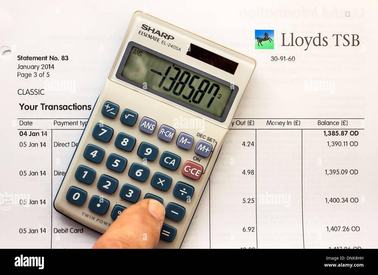 Overdrawn January 2014 Lloyds Bank Statement - Stock Image