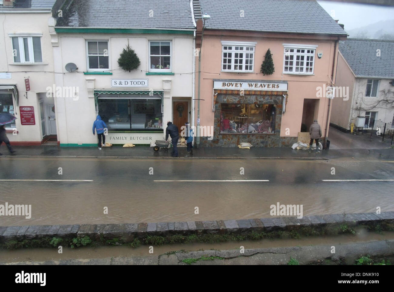 Bovey Tracey, Devon, UK. 1st January 2014. Heavy rain caused floods in Bovey Tracey. Credit:  nidpor/Alamy Live News - Stock Image