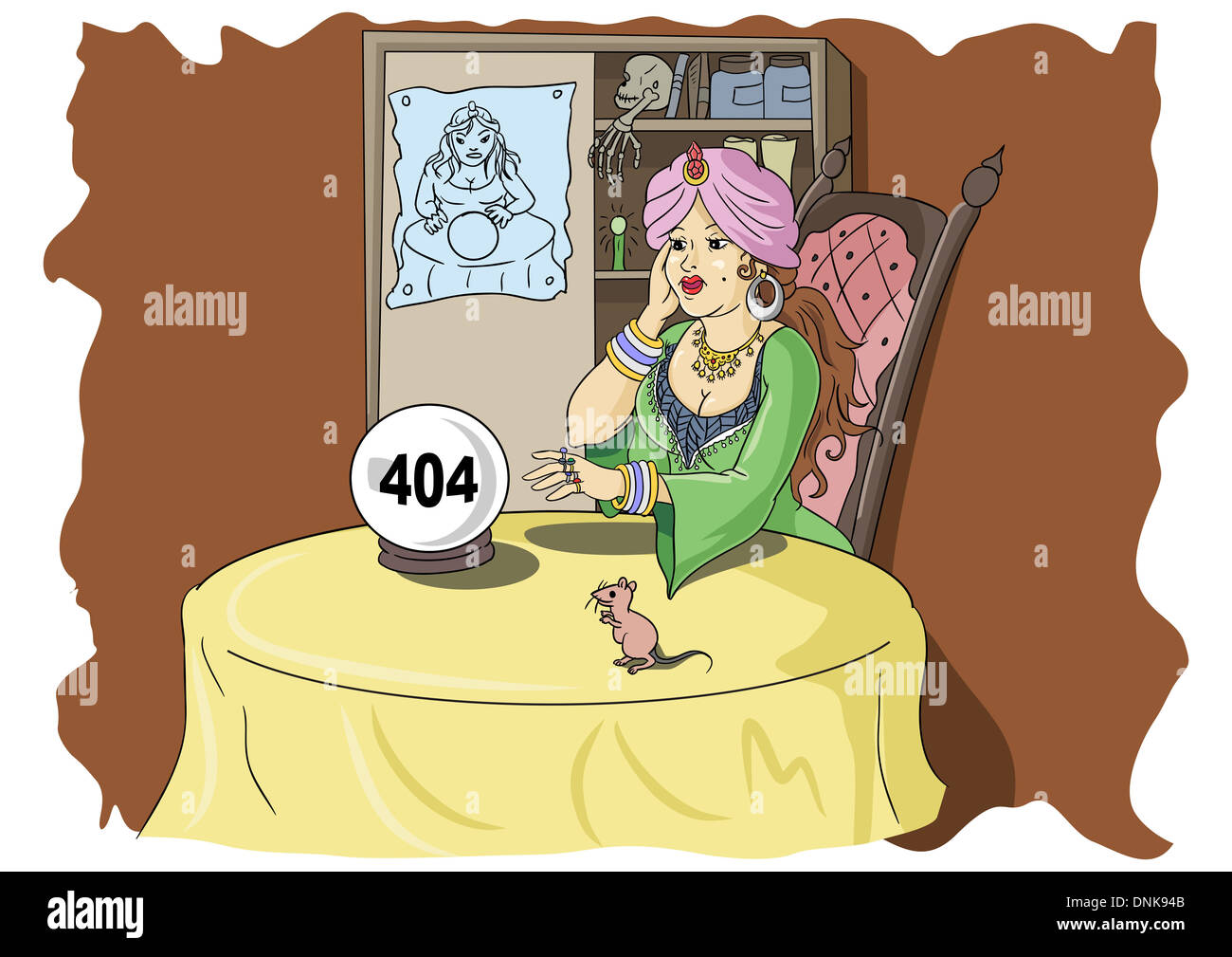 Fortune teller looking at crystal ball with 404 error message - Stock Image