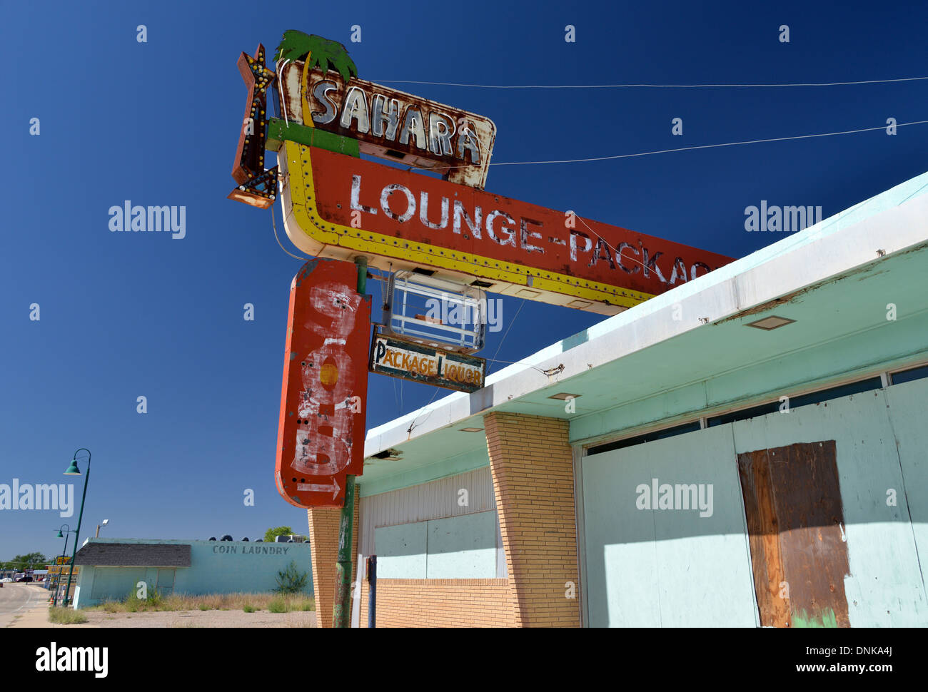 Derelict 1960s lounge bar, The Sahara along old Route 66 in New Mexico - Stock Image