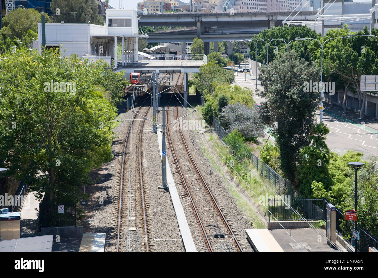 light rail track running behind the back of darling harbour,sydney - Stock Image