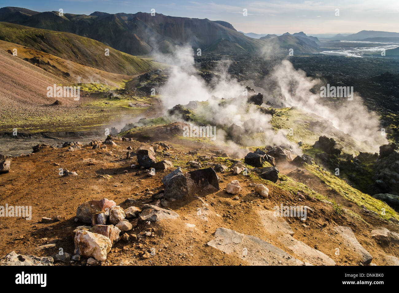 Steam vents and old lava flows, Landmannalaugar, Iceland - Stock Image