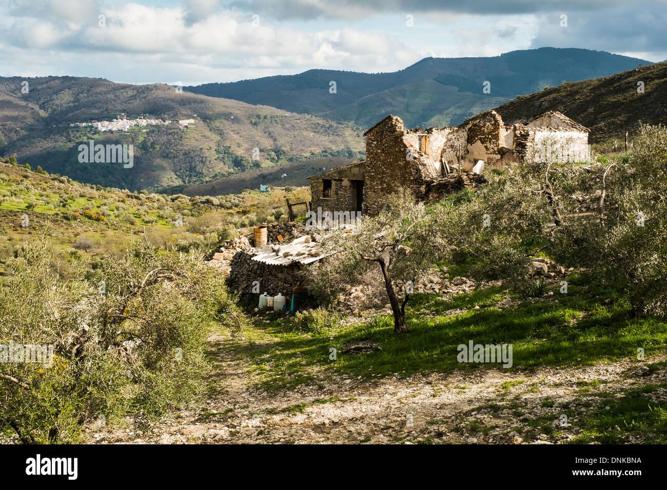 Near Los Riscos, Júzcar, Málaga. In the Serranía de Ronda looking towards the village of Pujerra. - Stock Image