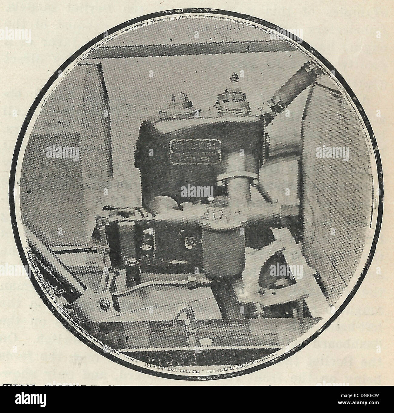 The single cylinder Motobloc Voiturette Engine - The engine is notable since it crankcase and the gear box of the car form a unit 1909 - Stock Image