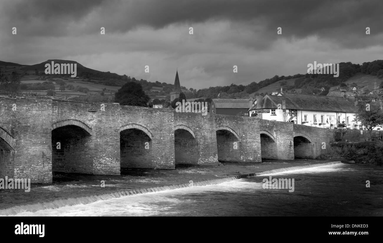 Bridge over the Usk in Crickhowell Stock Photo