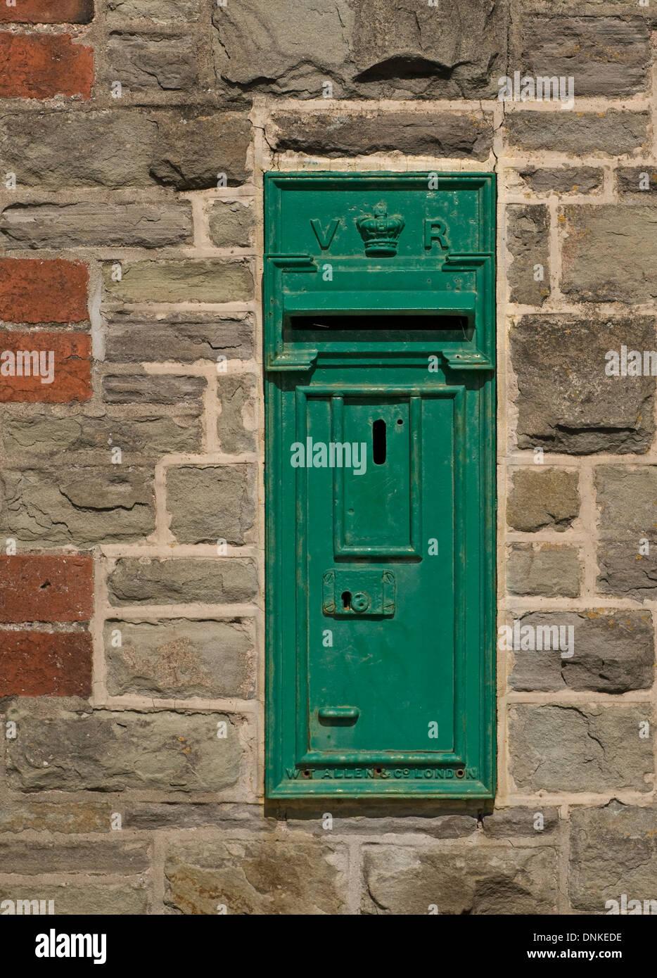 Green Victorian post box Stock Photo