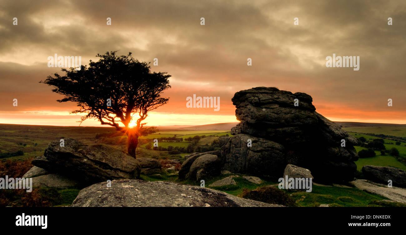Saddle Tor sunset Stock Photo