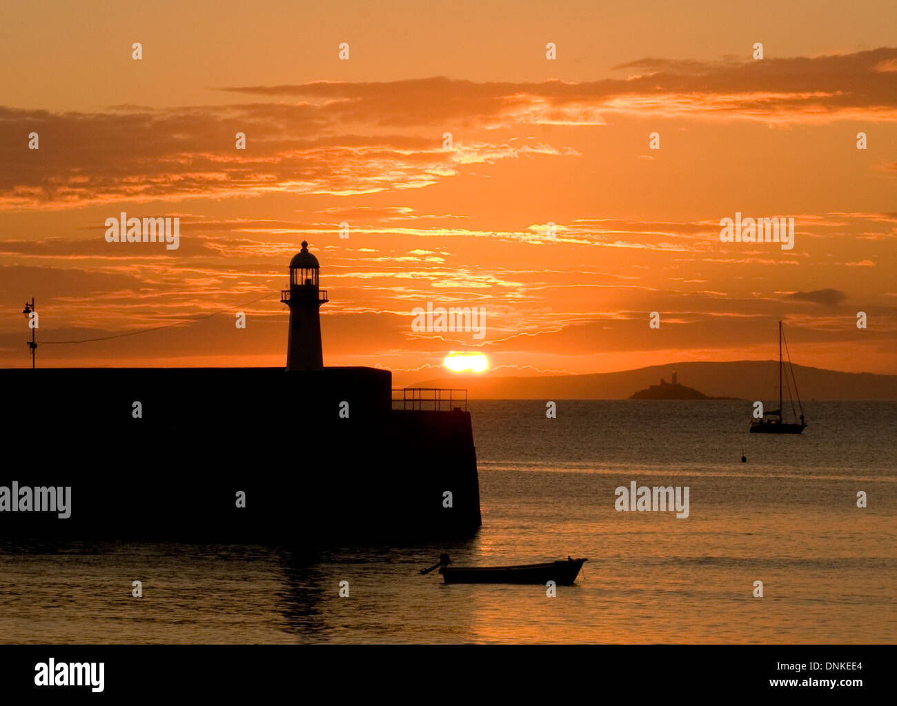 Smeaton's Pier sunrise, St Ives, Cornwall Stock Photo