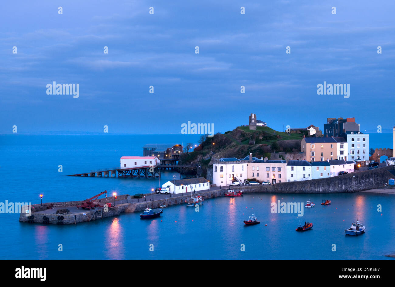 Tenby harbour at dusk in winter Stock Photo