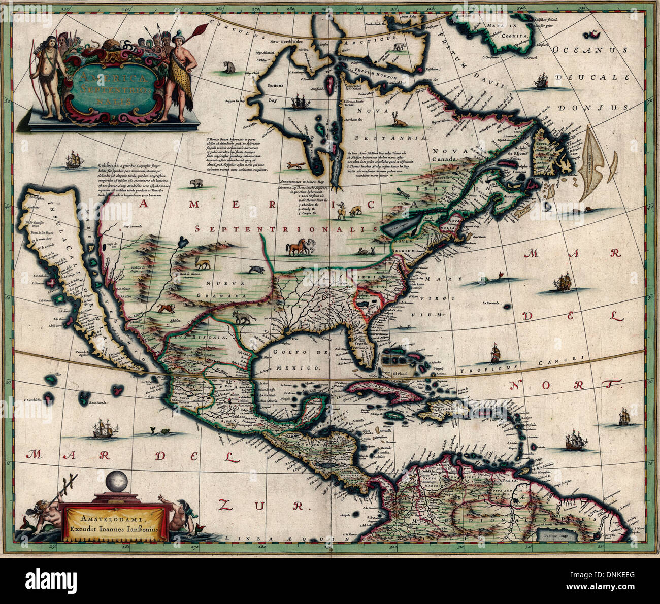 America Septentrionalis Map of North America January