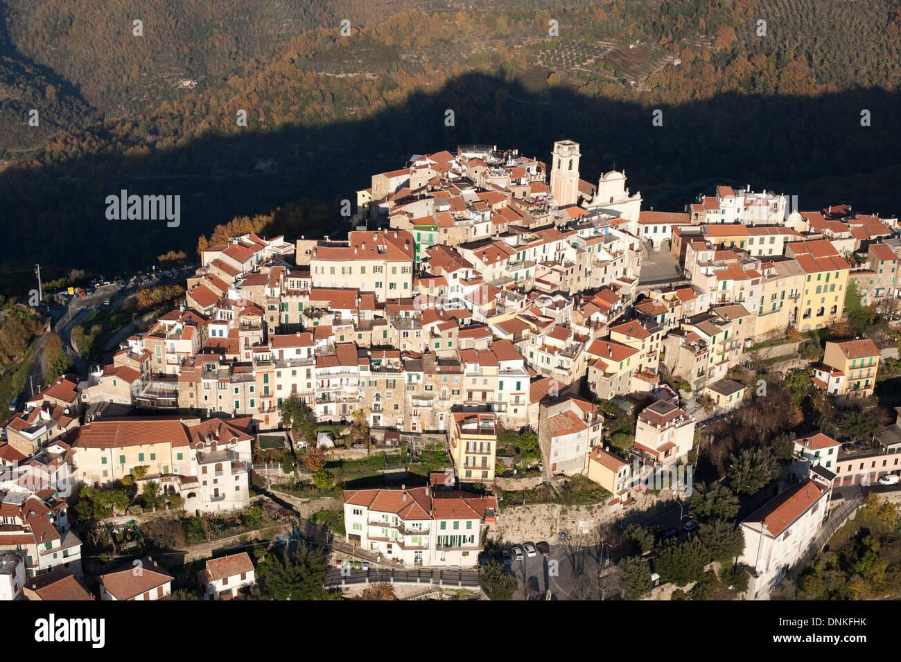 PERCHED MEDIEVAL VILLAGE (aerial view). Perinaldo, Province of Imperia, Liguria, Italy. Stock Photo