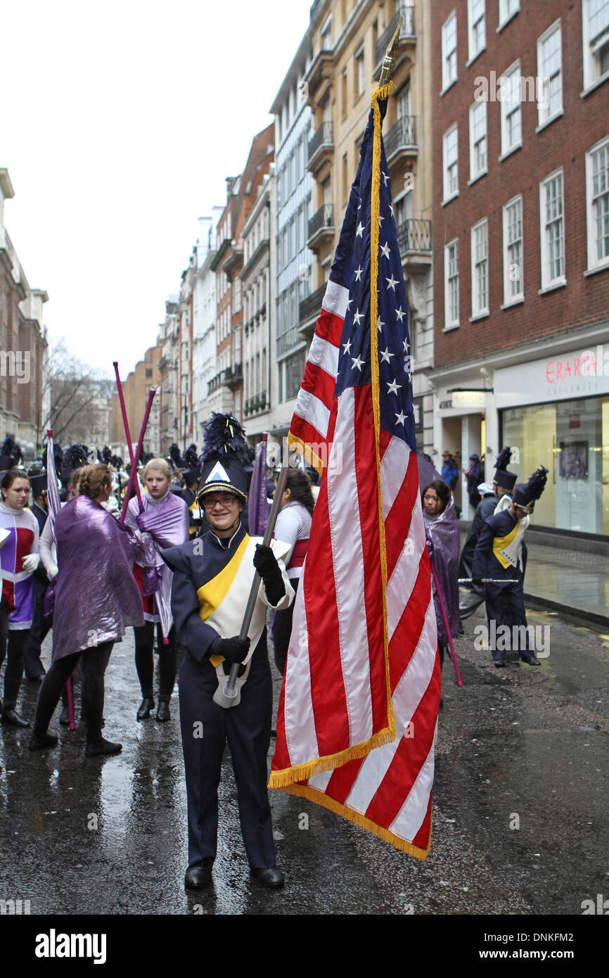 London,UK,1st January 2014,Flag bearers at the London's New Year's Day Parade 2014 Credit: Keith Larby/Alamy Live News - Stock Image