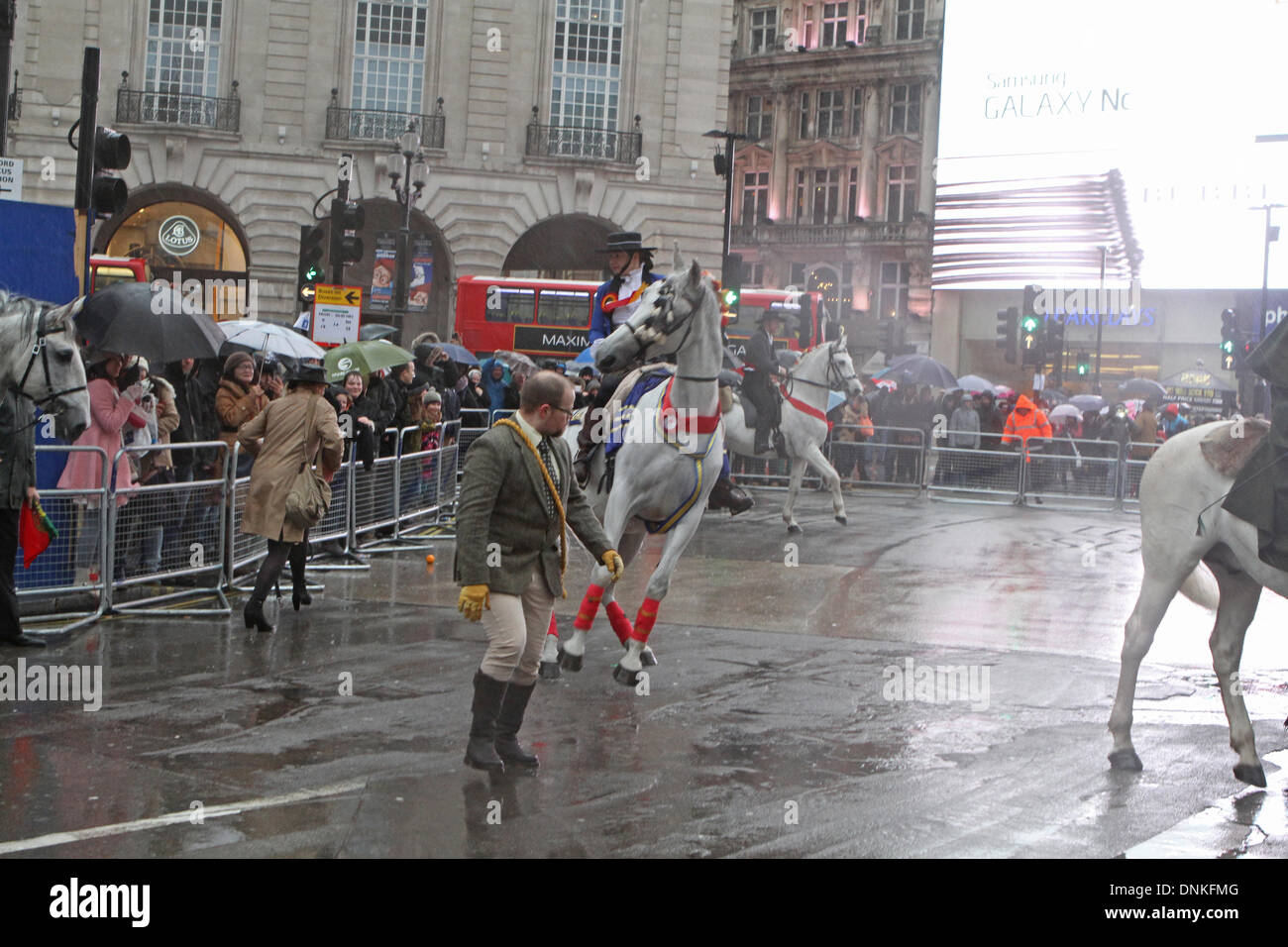 London,UK,1st January 2014,Horses misbehaved at the London's New Year's Day Parade 2014 Credit: Keith Larby/Alamy Stock Photo